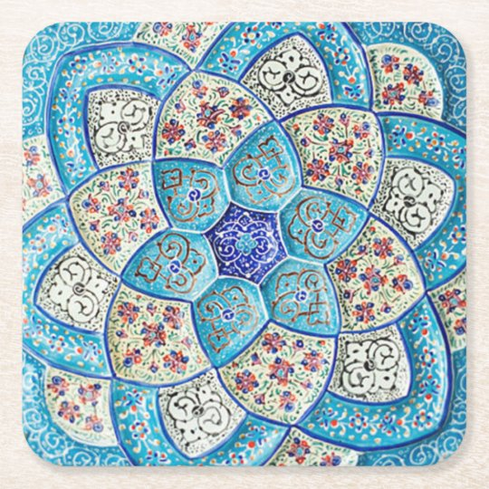 Traditional Moroccan turquoise Blue, white, salmon Square Paper