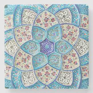 Traditional Moroccan turquoise Blue, white, salmon Stone Coaster