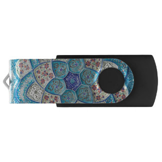 Traditional Moroccan turquoise Blue, white, salmon USB Flash Drive