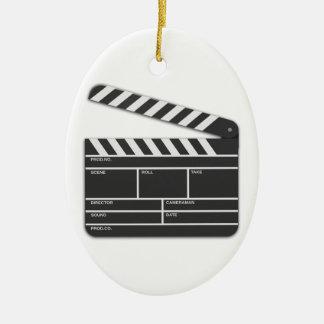 Traditional Movie Clapper-Board Ceramic Oval Decoration