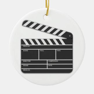 Traditional Movie Clapper-Board Round Ceramic Decoration