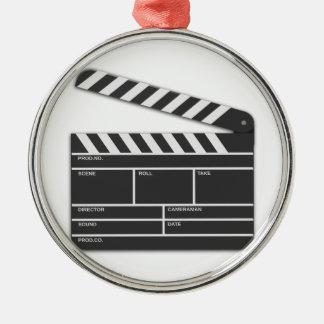Traditional Movie Clapper-Board Silver-Colored Round Decoration