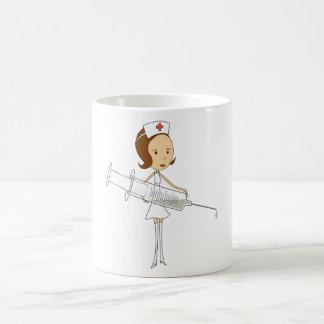 Traditional Nurse with Comically Oversized Syringe Basic White Mug