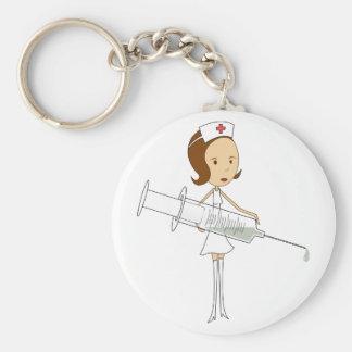 Traditional Nurse with Comically Oversized Syringe Key Ring