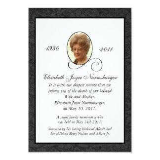"Traditional Photo Death Announcement Card 5"" X 7"" Invitation Card"