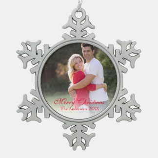 Traditional Photo Red Merry Christmas Ornament