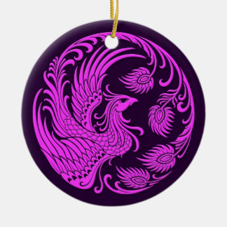 Traditional Pink and Purple Phoenix Circle Christmas Ornament