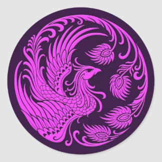 Traditional Pink and Purple Phoenix Circle Round Sticker