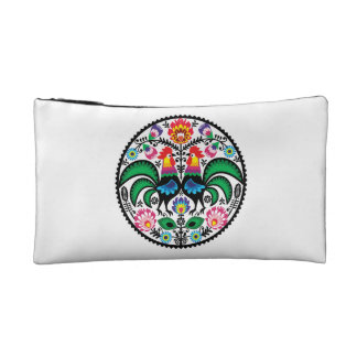 Traditional Polish floral folk embroidery pattern Makeup Bags