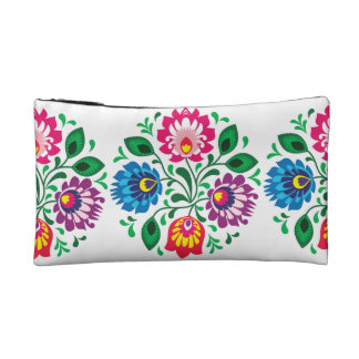 Traditional Polish floral folk embroidery pattern Cosmetics Bags