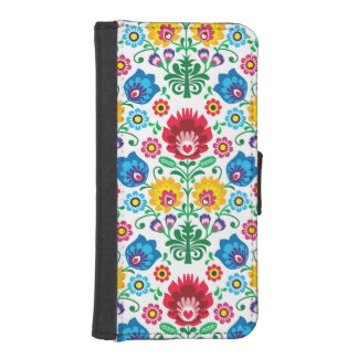 Traditional Polish floral folk embroidery pattern iPhone SE/5/5s Wallet Case