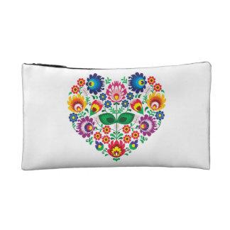Traditional Polish floral folk embroidery pattern Makeup Bag