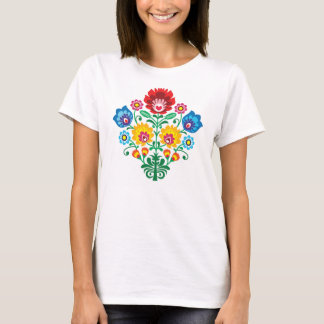 Traditional Polish floral folk embroidery pattern T-Shirt
