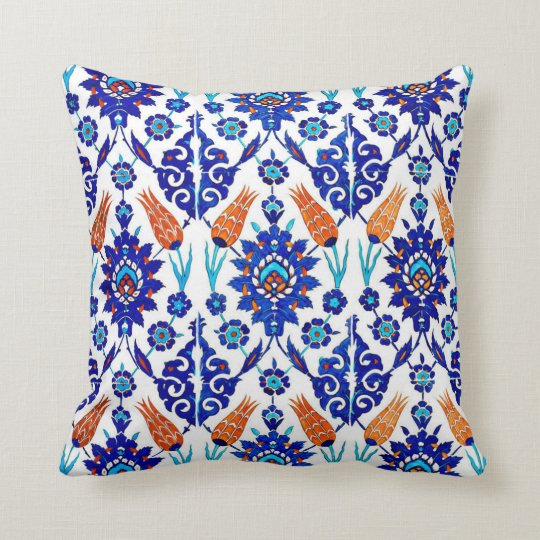 Traditional Portuguese Azulejo Floral Tile Pattern Cushion