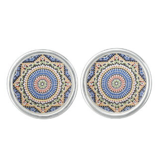 Traditional Portuguese Azulejo Tile Pattern Cuff Links