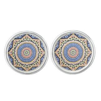 Traditional Portuguese Azulejo Tile Pattern Cufflinks