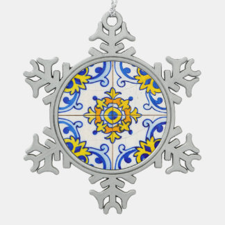 Traditional Portuguese Azulejo tile Snowflake Pewter Christmas Ornament