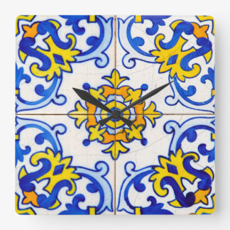 Traditional Portuguese Azulejo tile Square Wall Clock