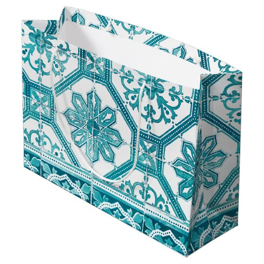 Traditional Portuguese blue tiles design Large Gift Bag