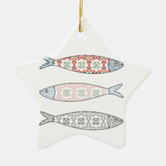 Traditional Portuguese icon. Colored sardines Christmas Ornament