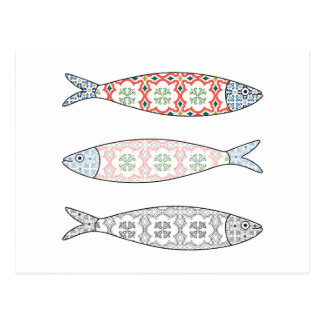 Traditional Portuguese icon. Colored sardines Postcard