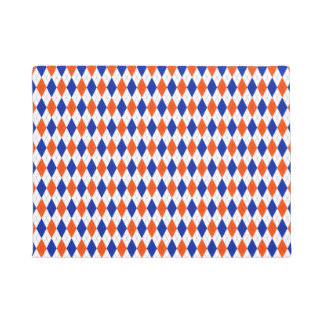 Traditional Preppy Argyle in Orange and Blue Doormat