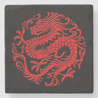 Traditional Red and Black Chinese Dragon Circle Stone Beverage Coaster