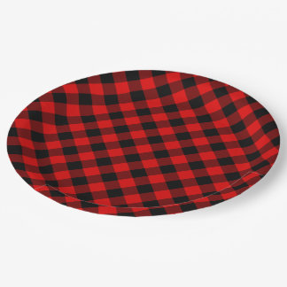 Traditional Red Black Buffalo Check Plaid Pattern Paper Plate