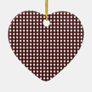 Traditional red chequered pattern, worker clothing ceramic heart decoration