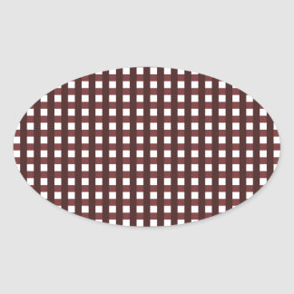 Traditional red chequered pattern, worker clothing oval sticker
