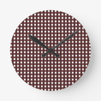 Traditional red chequered pattern, worker clothing round clock
