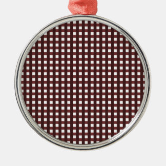 Traditional red chequered pattern, worker clothing Silver-Colored round decoration