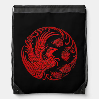 Traditional Red Phoenix Circle on Black Drawstring Bag