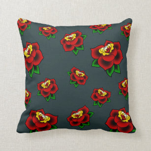 Traditional Rose Tattoo Throw Pillow