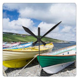 Traditional rowboats square wall clock