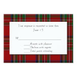 Traditional Royal Stewart Plaid Wedding RSVP Card 9 Cm X 13 Cm Invitation Card