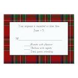 Traditional Royal Stewart Plaid Wedding RSVP Card 9 Cm X 13 Cm Invitation Card