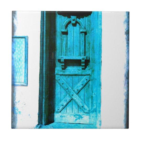 Traditional Rustic Blue Door Santorini GREECE Small Square Tile