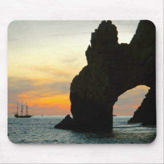 Traditional Sailboat At Sunset,Cabo Rock Arches Mouse Mat