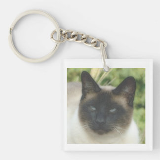 Traditional Siamese Cat Square Key Chain