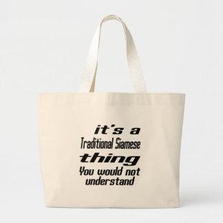 Traditional Siamese Thing Designs Jumbo Tote Bag