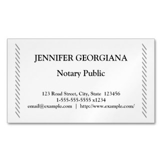 Traditional & Simple Notary Public Magnetic Business Cards