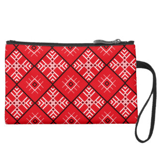 Traditional Slavonic Ornaments Sueded Mini Clutch Wristlet