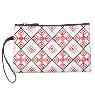 Traditional Slavonic Patterns Sueded Mini Clutch Wristlet