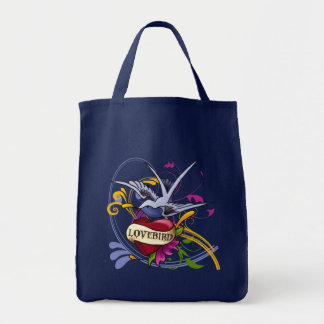 Traditional Tattoo Desingn Swallow and Heart Grocery Tote Bag