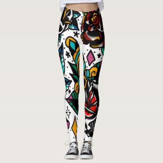 Traditional tattoo flash leggings