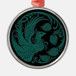 Traditional Teal Blue Phoenix Circle on Black Silver-Colored Round Decoration