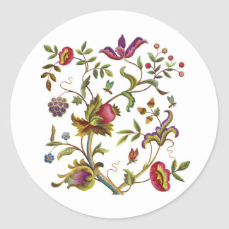 Traditional Tree of Life Embroidery Pattern Round Sticker