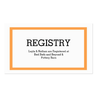 Traditional Typography Wedding Registry Card Pack Of Standard Business Cards
