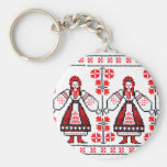 Traditional Ukrainian embroidery ukraine girls Basic Round Button Key Ring